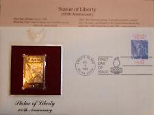 22K Gold 1986 Statue of Liberty 100th Anniversary Gold Proof Replica 1st Day Cov