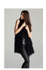 "BLACK HALO Eileen Fisher ""ESQE"" Black Wool  Mohair  Fur Knit   Vest  10 $298"
