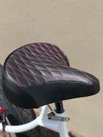 Custom Beach Cruiser Comfortable Bicycle Seat- PINK STITCHING