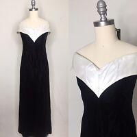 Vintage 80s Loralie Deadstock Black Velvet Maxi Dress Size Medium