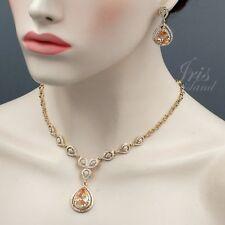 Cristal claro con corazón bañado en Oro Amarillo Collar Pendiente Cadena Joyería conjuntos PK