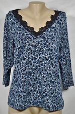 STUDIO 1940 Blue Black White Stretch Lace Top 18 20 3/4 Sleeves Lined Front