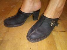 "STETSON 7M Black Leather w/Faux Fur Lining 3"" Heel Mules"