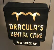 Draculas Dental Care Free Checkups Light Up Metal Sign Halloween