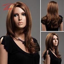 ZNL 61cm Long Femme Perruque Féminin Brun Cheveux Wig Cosplay Bouclé Neuf