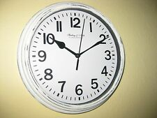 """NEW HP SHABBY COTTAGE CHIC COASTAL WHITE 9"""" ROUND WALL CLOCK MAKES GREAT GIFT"""