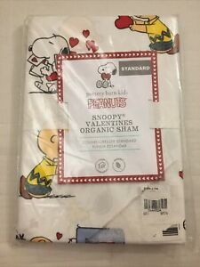 NIP Pottery Barn Kids Peanuts Organic Snoopy Valentines ❤️ Standard Sham