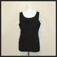 Ann Taylor Loft Womens Solid Black Ruffled Sleeveless Blouse Size M