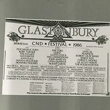 GLASTONBURY FESTIVAL 1986 CONCERT POSTER (A3 SIZE) LEVEL 42 MADNESS SIMPLY RED