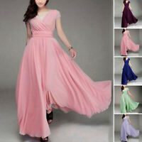 Women Dress Ladies Evening Chiffon Long Plus Size Fashion Dress Party Gown