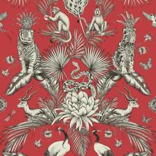 Floral Red Wallpaper Animal Print Leopard baboons Trees Leaf Jungle Belgravia