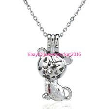 Pearl Cage Stainless Steel Chain -K77 Lovely Cat Locket Necklace - Animal Beads