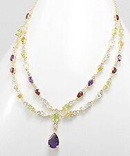 "19"" Solid Sterling Silver Vermeil 14K Gold Amethyst & Multi Gemstone Necklace"