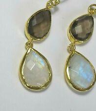 Regenbogen Mondstein und Rauchquartz Ohrringe, 925 Silber vergoldet