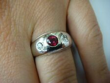 14K WHITE GOLD, RUBY AND DIAMONDS GYPSY RING, 4 GRAMS, SIZE 5.25, 8.3 MM WIDE