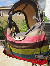 Gray Multi Color Striped Designers Inspired Suede Handbag Brand New Purse L@@K!!