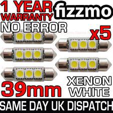 5x 39 millimetri 3 SMD LED 239 272 C5W CANBUS NO ERRORE BIANCO LUCE INTERNO Festoon BULB