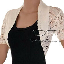 LADIES CROCHET SHRUG BOLERO KNITTED CARDIGAN WOMENS TOP IN UK SIZES 8-26