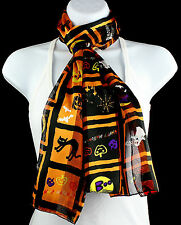 Happy Halloween Womens Scarf Bat Cat Ghost Witch Scarfs Gift Her Scarves New