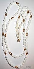 Vintage MONET White Lucite Plastic & Goldtone Fluted Spacers Long Necklace Retro