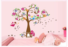 Large Tree Castle Flowers Stars Fairy Wall Sticker Girl Room Kids Wall Decal UK