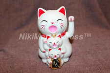 """Japanese Lucky Maneki Neko Waving Paw Hand Beckon Cat White Battery Operated 5"""""""