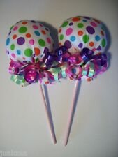 PINK LIME PURPLE  DOTS GIRL SCRATCH MITTEN LOLLIPOPS  BABY SHOWER DIAPER CAKE