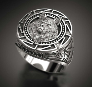 Vintage Style Solid Thai Silver High Quality Wolf Totem Men's Craft Ring AU