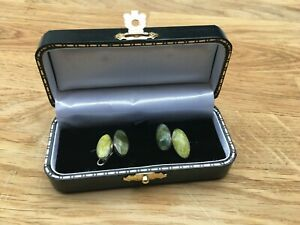 Super Antique / Vintage Silver and Agate Cufflinks circa 1900