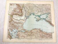 1907 Antique Map of Russia The Black Sea Odessa Romania The Crimean Peninsula