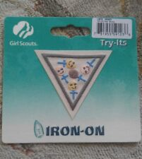 Brownie Girl Scouts HER STORY Badge Try It Iron On Emblem Patch NIP