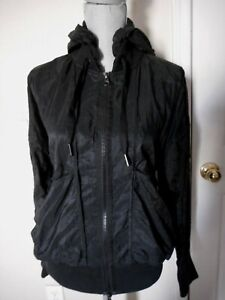 Adidas Stella McCartney M Lightweight Double Zip Windbreaker W/Hood Black