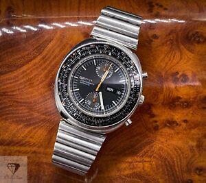 1974 Seiko 6138-7000 Slide Rule Calculator Chronograph + Seiko Bracelet (234)