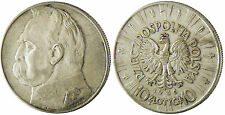 POLOGNE  ,  10  ZLOTYCH  ARGENT  -  JOZEF  PILSUDSKI  1936
