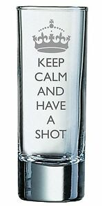 2oz Shot Glass With Keep Calm and Have A Shot Design and Your Name/Initials