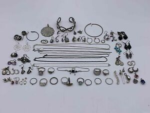 0.4lbs. Grab Bag Bulk Lot of Assorted 95% Britannia Silver Jewelry