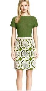 Tory Burch Green White Cotton Leaf Crochet A Line Knee Skirt Size L $425