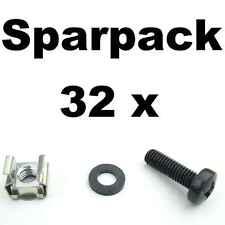32 x Rackschrauben M6x20 + Unterlegscheiben + Käfigmuttern für Alu-Rackschienen