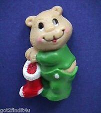 BUY1&GET1@50%~Russ MAGNET Christmas BEAR in PJs w STOCKING Fridge Vtg STICKER