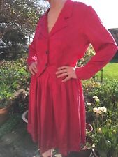 Red silk suit satin sheen gathered short skirt long sleeved semi fitted jacket