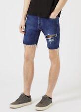 NEW Topman Ripped Cut Off Slim Denim Shorts - Blue Jean - Size 32