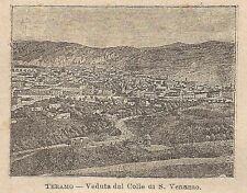 A0306 Teramo - Veduta dal Colle di S. Venanzo - Stampa Antica 1907 - Xilografia