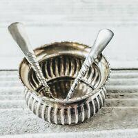 Rare Antique Gorham Sterling Silver Salt Cellar & Gold Washed Spoons See Details