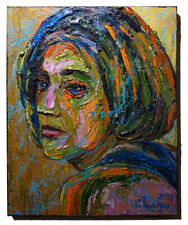 ABSTRACT MODERN█ORIGINAL█OIL█PAINTING█IMPRESSIONIST ART PORTRAIT OF GIRL FEMALE