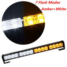 16 LED Amber+White Car Traffic Advisor Emergency Roof Light Strobe Flashing Lamp