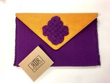 Aranaz Stunning Purple & Mustard Yellow Rope Envelope Clutch RRP £265