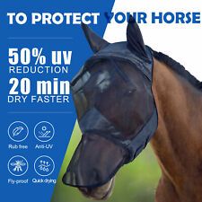 Horse Fly Mask Full Face With Ears NoseAnti UV Soft Mesh Keep From Flies Bugs