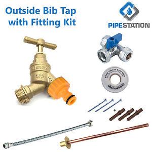 Outside Tap Kit garden hose fitting set Tap + wallplate + PTFE + Connector +Flex