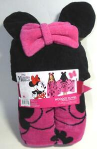 "Disney Minnie Mouse Hooded Towel 100% Cotton Pink Black 51""x23"" Bath Beach Pool"