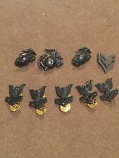 Lot of Nine Vintage US Marines Hat Cap Pins Black